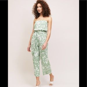Dynamite Green and White Floral Halter Jumpsuit